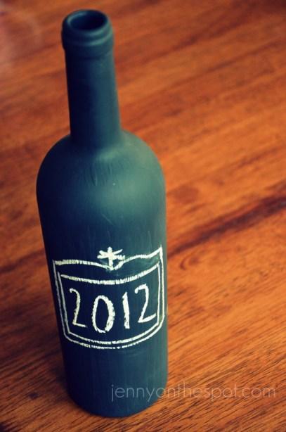 chalkboard paint on wine bottle