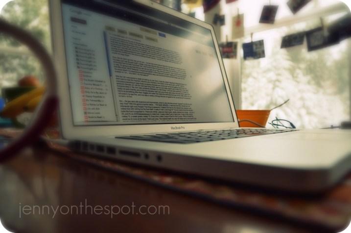 computer on kitchen table