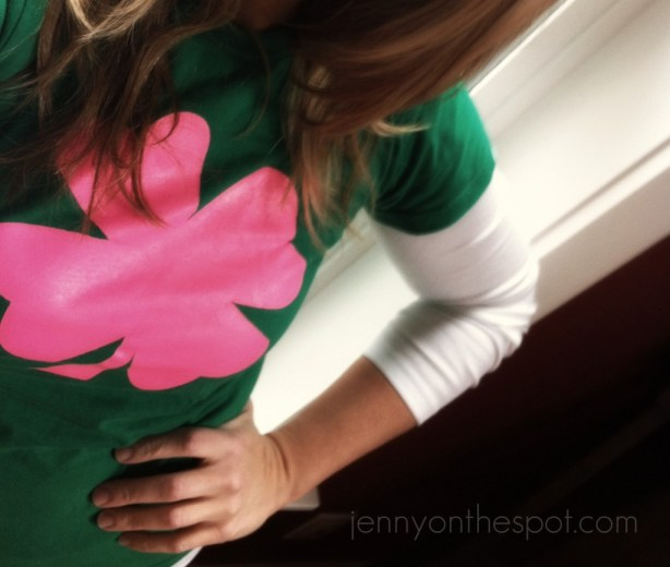green shirt, pink clover