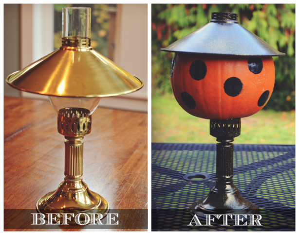 Halloween Decor: hurricane lamp made new via @jennyonthespot