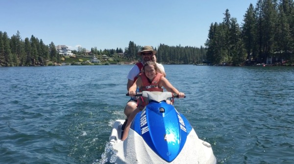 jet ski tow on a lake