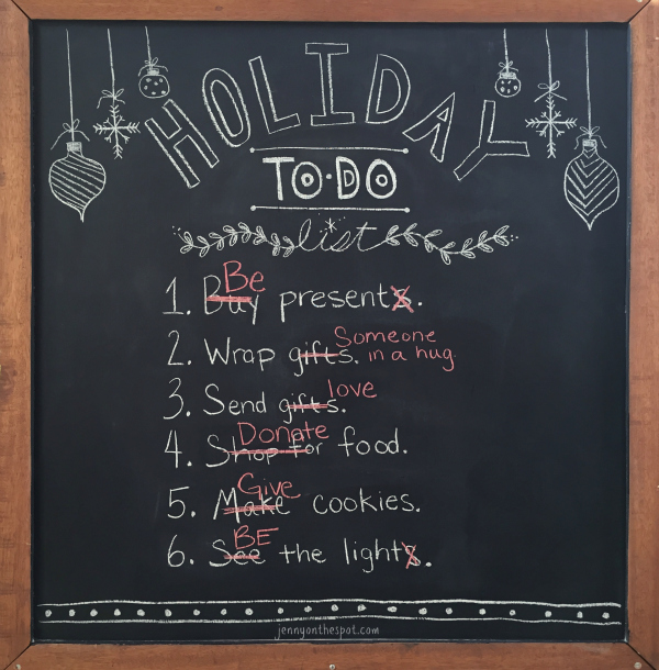 Holiday To-Do List in chalk via @jennyonthespot