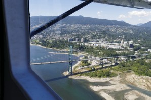 Flying over the Lions Gate Bridge