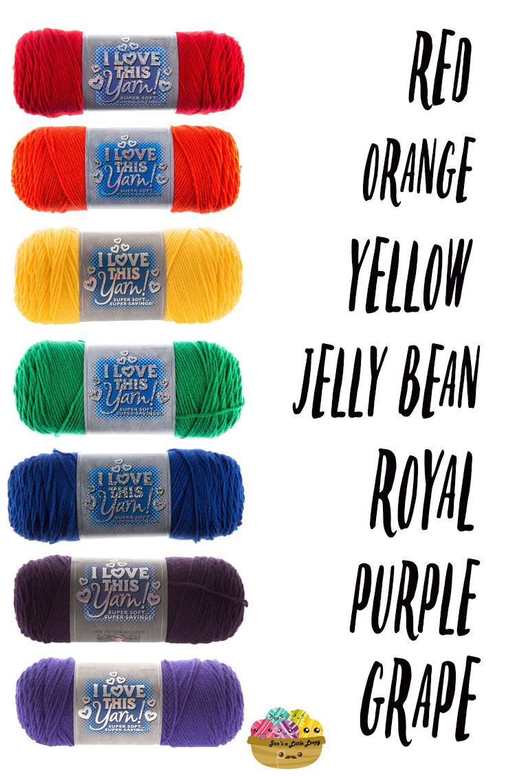 Hobby Lobby I Love This Yarn Primary Rainbow Yarn Shopping List