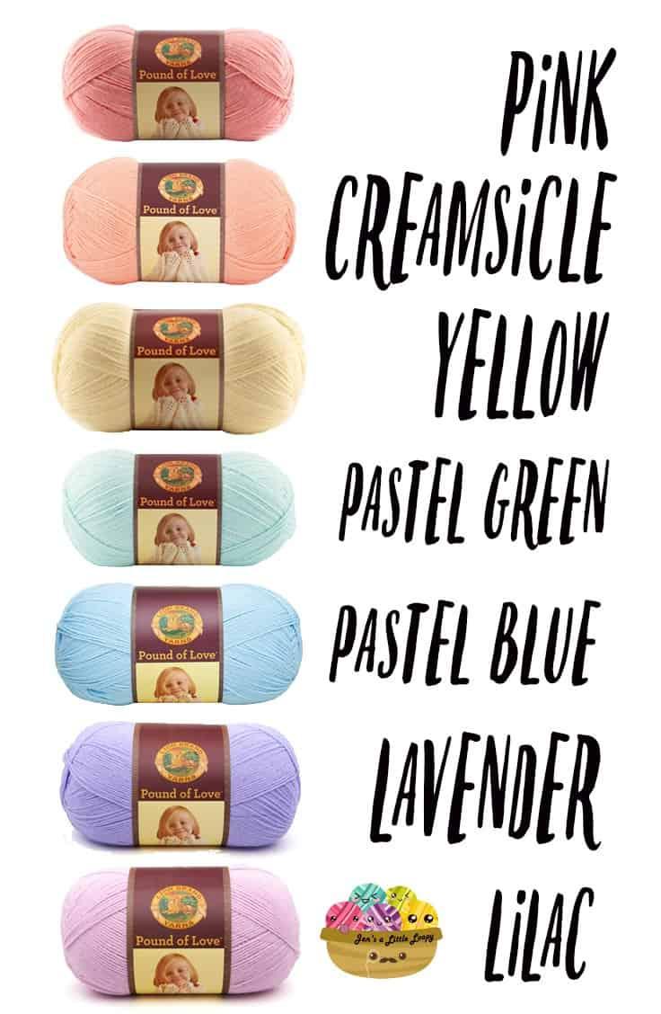 Lion Brand Pound of Love Pastel Rainbow Yarn Shopping List