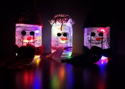 Upcycled Snowman Luminary