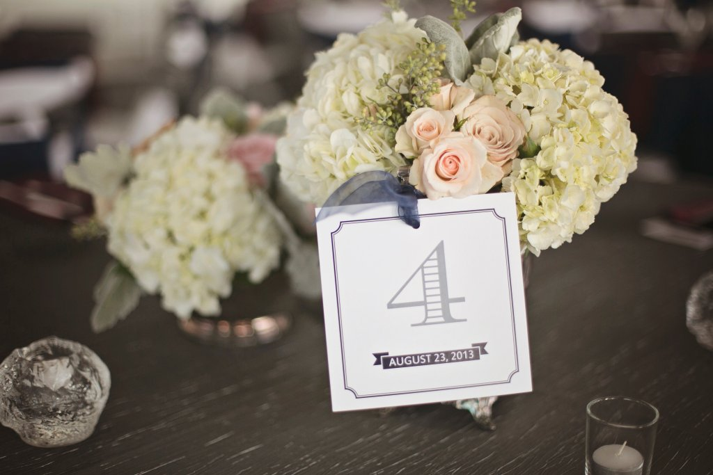 Centerpiece, hydrangea, spray roses, Chambers Bay Reception