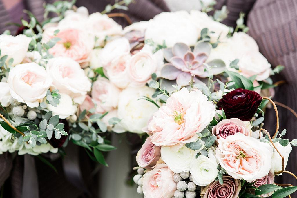 Garden Rose Bouquet, Succulent Bouquet, Ranunculus Bouquet, Canterwood Wedding