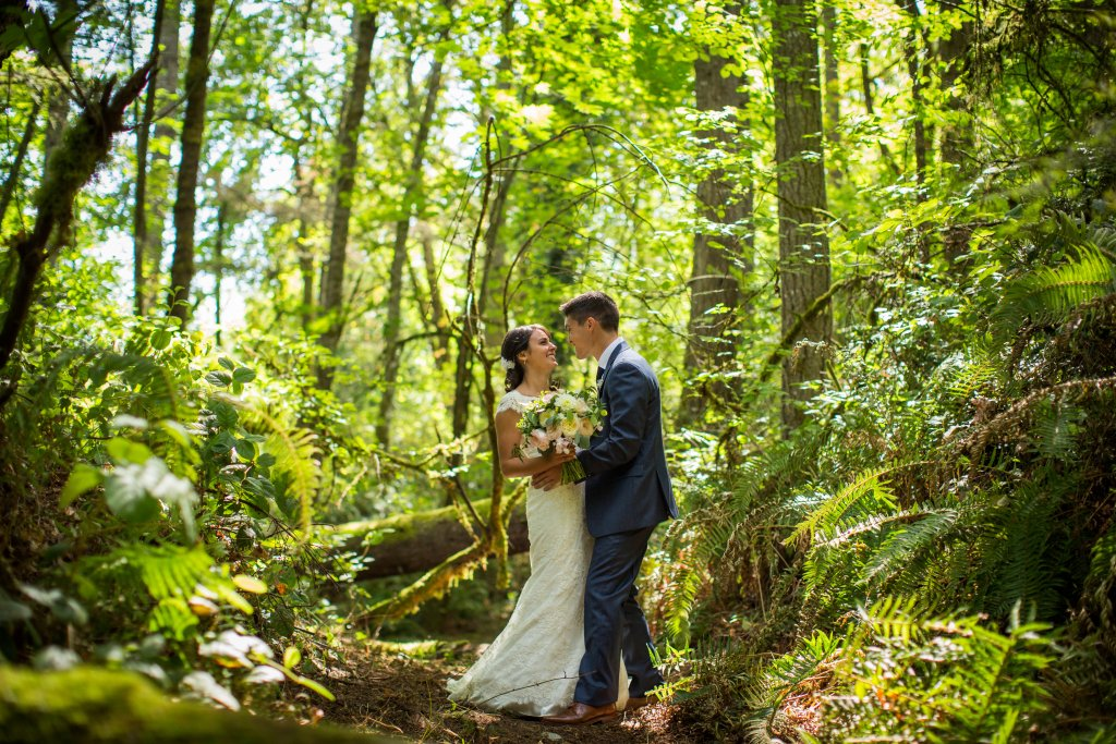 Gig Harbor Wedding, Garden Rose Bouquet, Couple in the Woods, View More: http://charbeck.pass.us/08-16-15-lee-dani