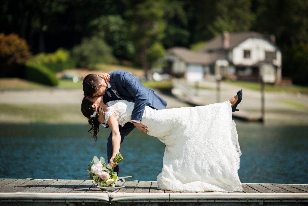 Gig Harbor Wedding, Waterfront Bride & Groom
