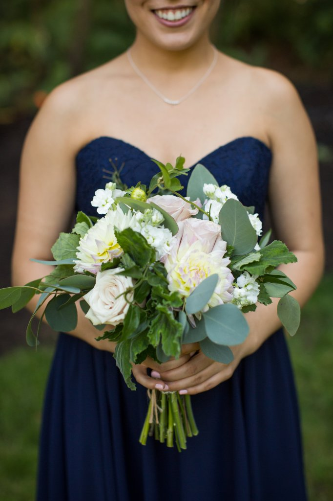 Dahlia & Rose Bridesmaid Bouquet, Gig Harbor Wedding, Blush & Navy