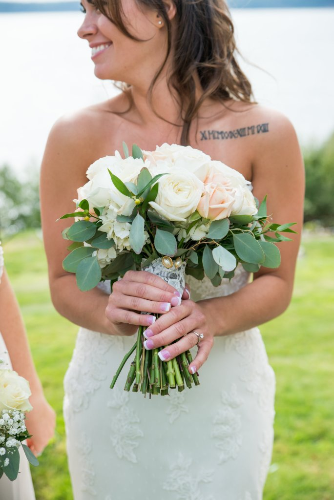 Garden Roses, Eucalyptus, Hydrangea, Champagne Roses, Bridal Bouquet