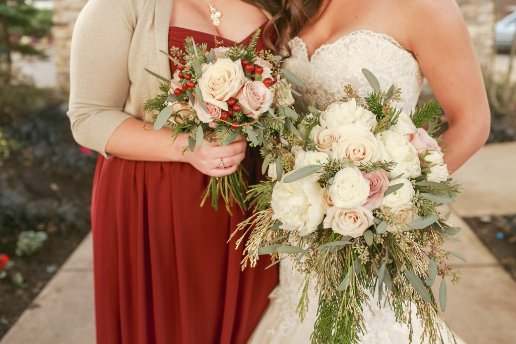 Winter Bouquets, Peonies, Roses, Cedar