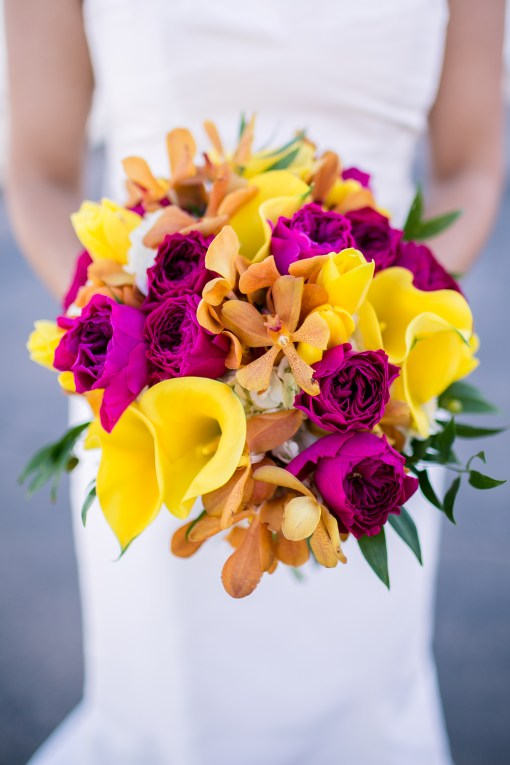 Bridal Bouquet, Fuchsia, Tangerine, Yellow
