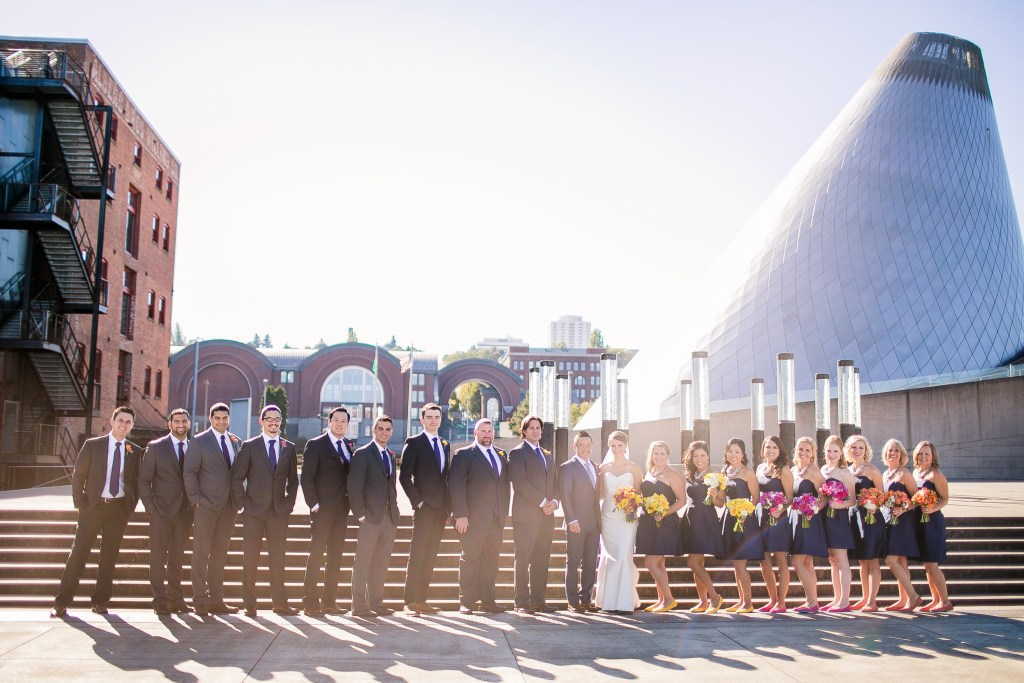 Union Station Tacoma Wedding || Photo: Genesa Richards Photography ||Downtown Tacoma Bridal Party