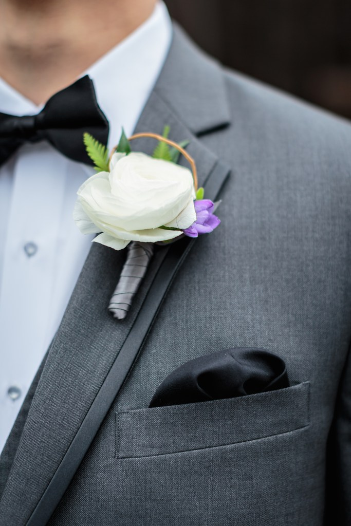 White ranunculus boutonniere by Jen's Blossoms