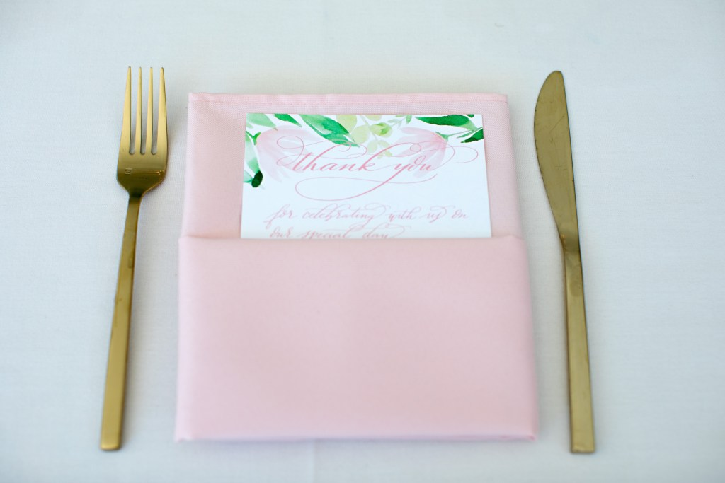 Custom Calligraphed Thank You Card Place Setting at Laurel Creek Manor