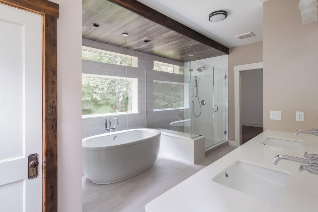 Contemporary Bathroom Remodel by Jensen Hus Design Build