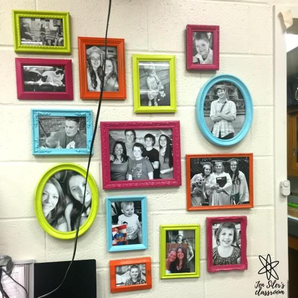 painted picture frames in classroom