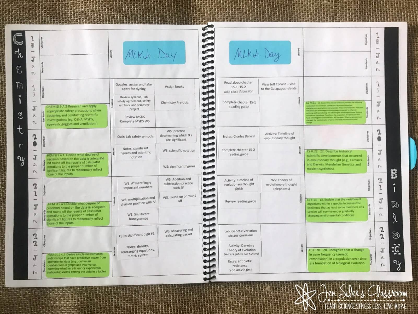 3rd planner with sticky standards