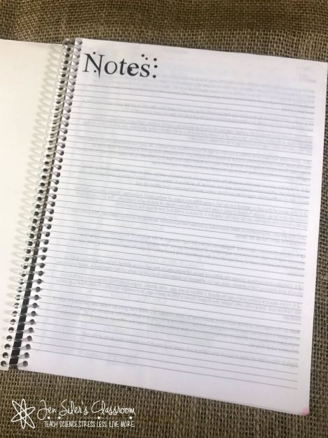 notes pages for lesson planner
