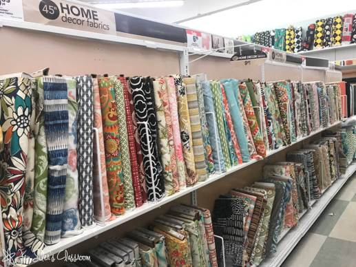 Rows of home fabric for slipcover