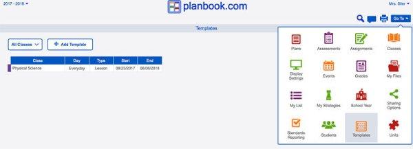 new template screen
