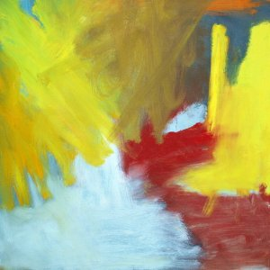 Maleri med gult og rødt