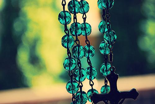 Beautiful aqua blue green rosary beads