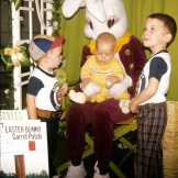 Easter 1974 Little boys in plaid with Easter bunny