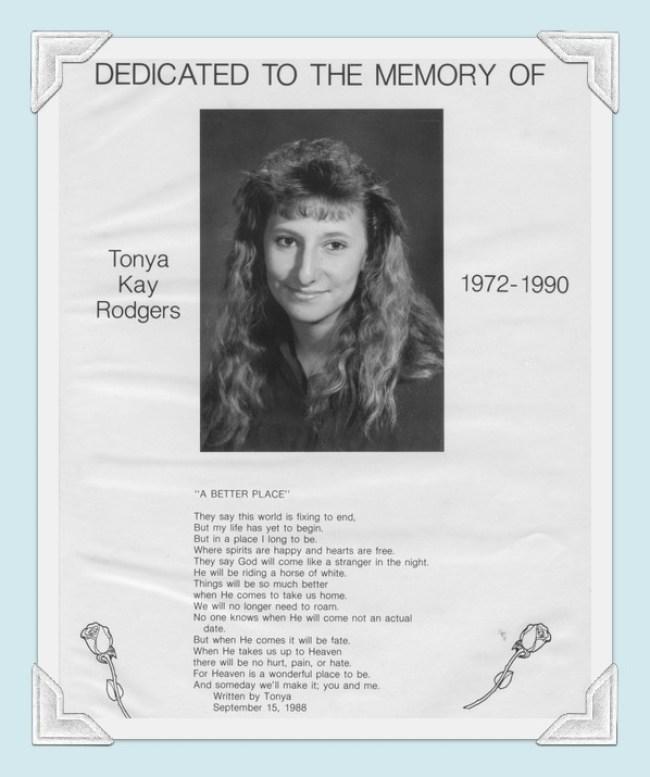 Tonya Kay Rodgers 1972-1990 Ninnekah