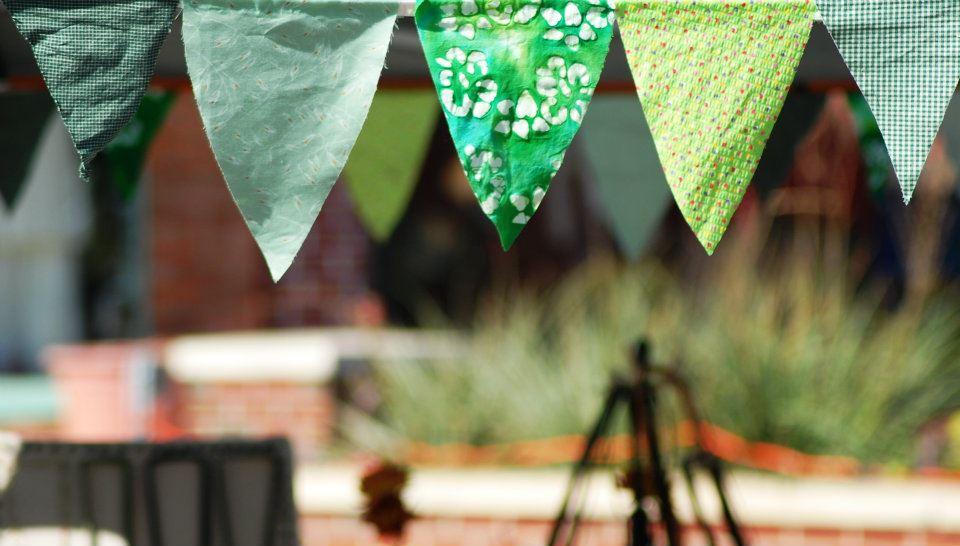 Homemade Green Pennant Banner