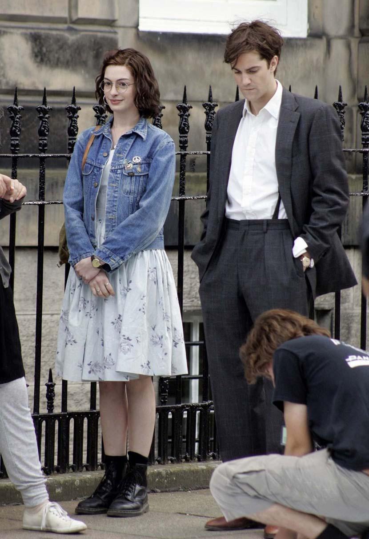 Anne Hathaway one day denim jacket dress short boots