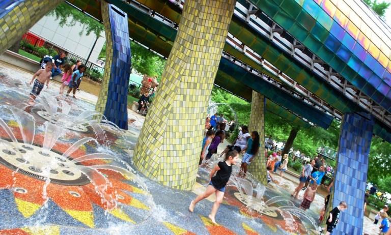 Kids Playing Thunder Fountain Myriad OKC