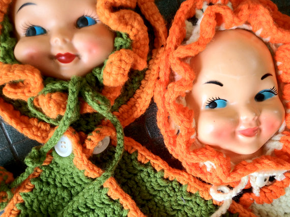 creepy doll face potholders