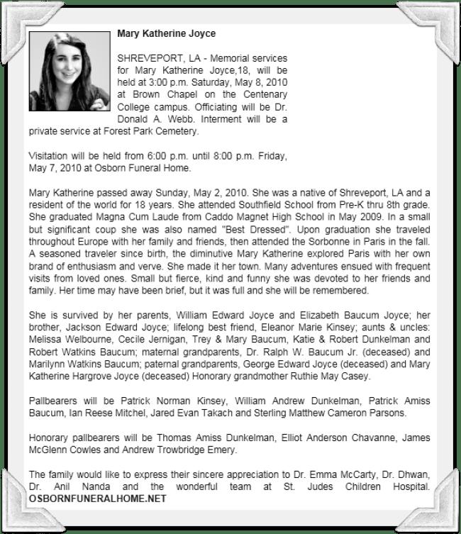 Mary Katherine Joyce Obituary