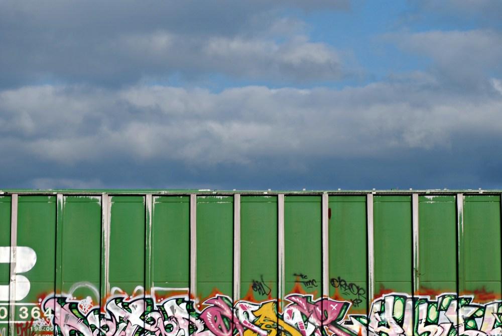 2 green graffiti train