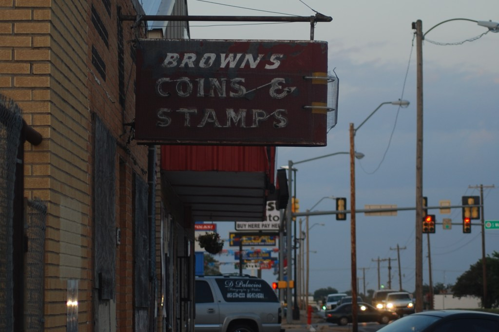 Vintage Sign, Old Neon Browns Coins and Stamps, OKC