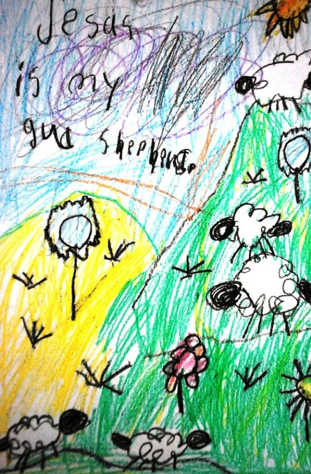 Child's artwork about Jesus amd Easter/