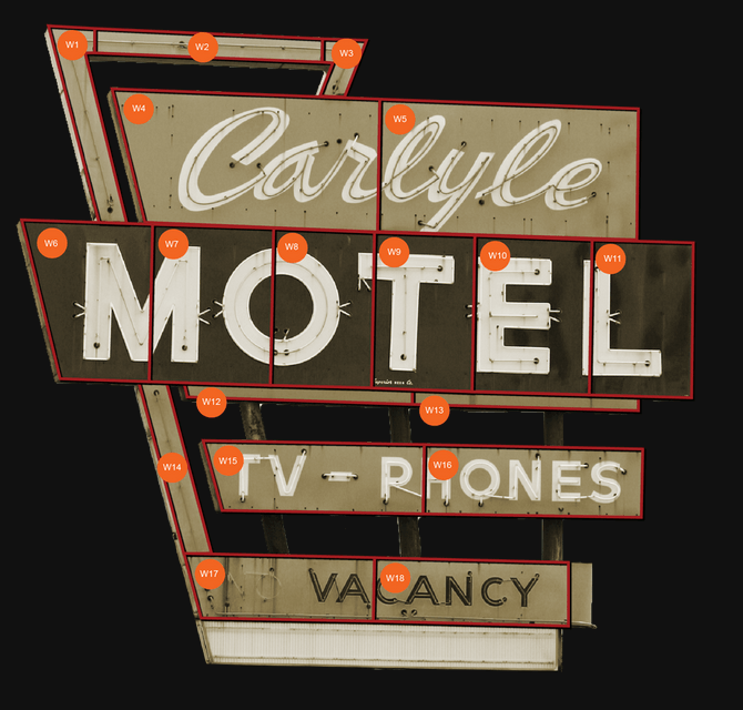 The Carlyle Motel sign was sold off in pieces.