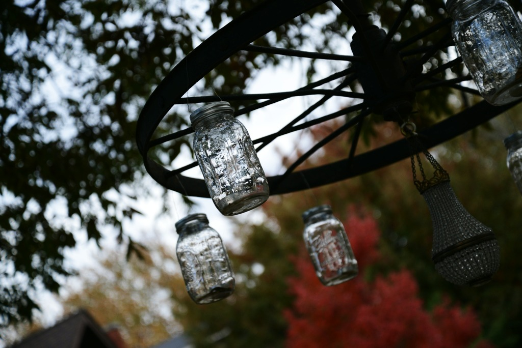 Mason Jar Outdoor Chandelier