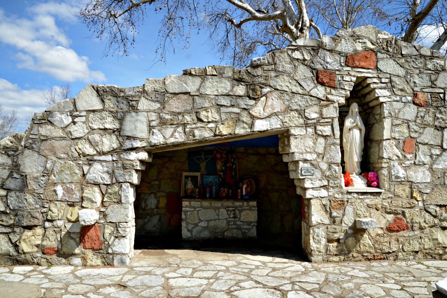 grotto with religious icons