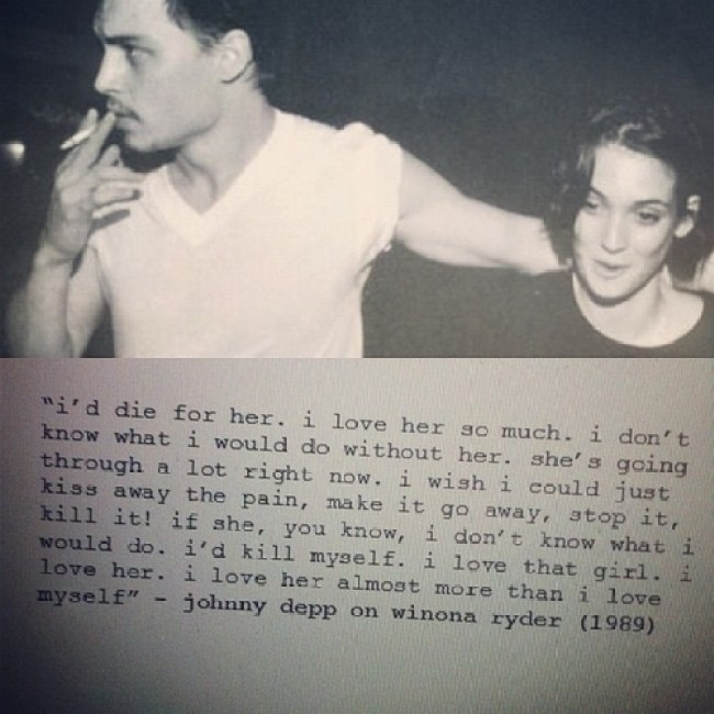 Johnny Depp and Winona Ryder in love