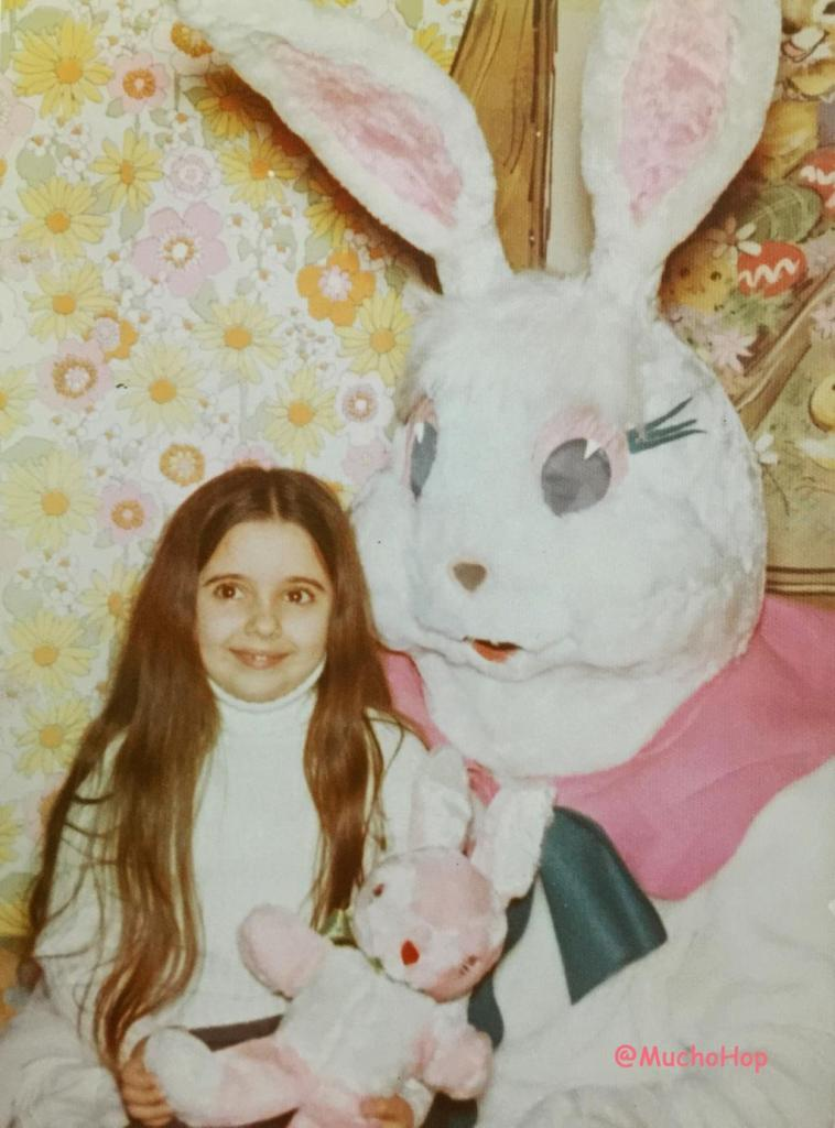 Girl sitting with Easter Bunny Vintage Wallpaper