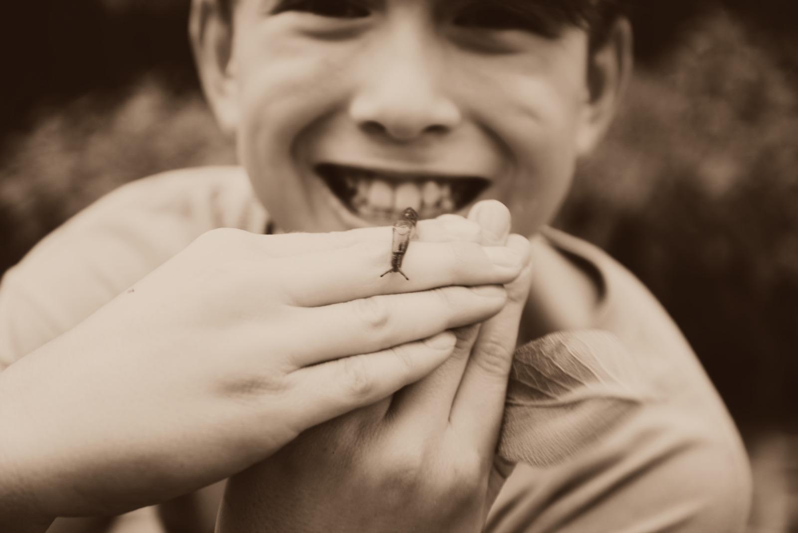 Boy with a snail slug