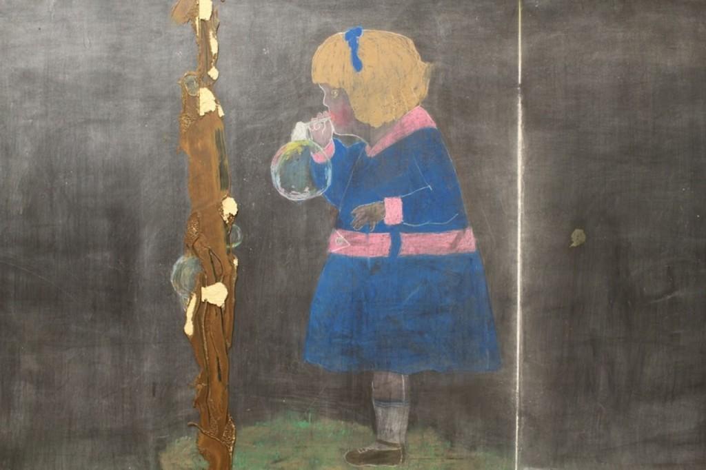Old Chalk Board Drawing of Little Girl OKC