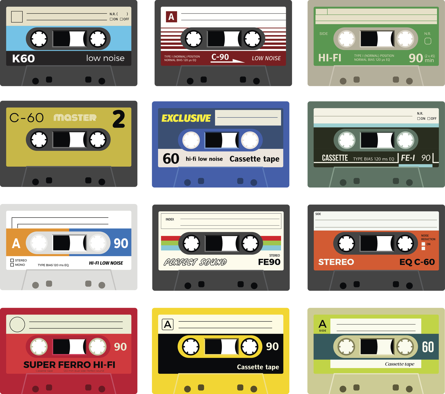Collection of retro plastic audio cassettes, music cassettes, cassette tapes. Isolated on white background. Realistic illustration of old technology. Vintage tapes.
