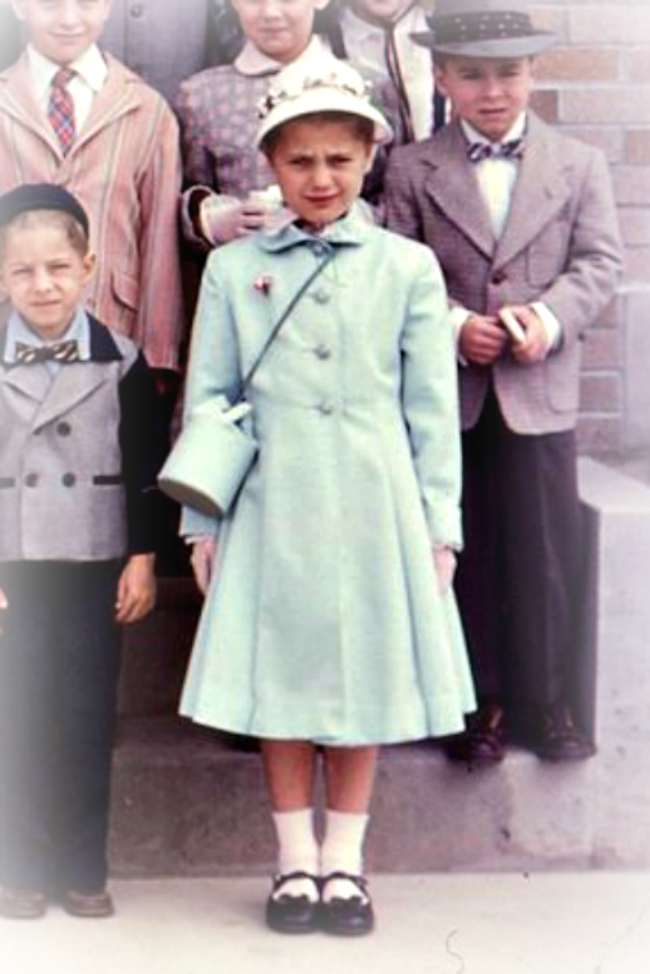 Dressed up for church: A Girl in matching coat and cylinder purse 1950s