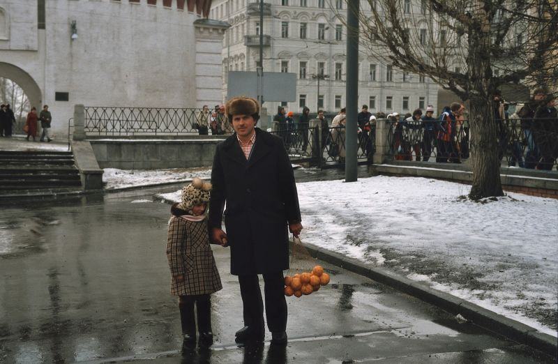 Russia, 1980s. Oranges were a rare treat.