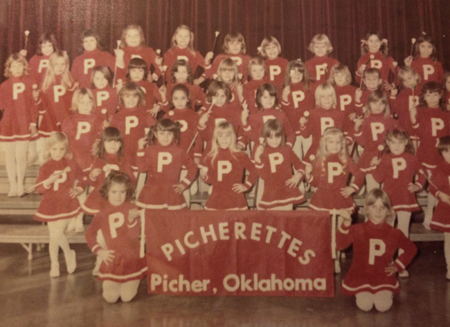 Picherettes, a twirling corps from Picher-Cardin Public School, 1972 or 1973 | Photo Source: Picher Kids on Facebook